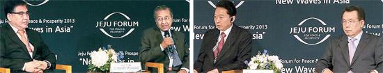 済州(チェジュ)フォーラム2日目である30日、世界指導者セッション参席者が熱を帯びた討論を行ている。