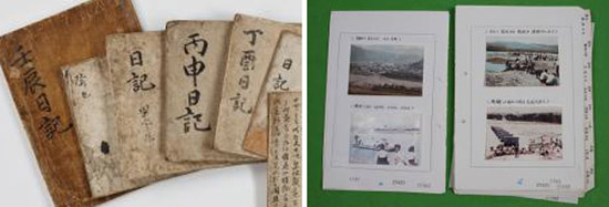 ユネスコ世界記録遺産に登録された「乱中日記」(左)と「セマウル運動記録物」。