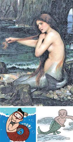 """神話は想像力の源泉だ。東洋と西洋で人魚を違って形象化したという点もまた興味深い。図の上から時計方向にジョン・ウィリアム・ウォーターハウスの『人魚』(1901、ロンドンローヤルアカデミーオブアート所蔵)、中国神話の中のチョイン、そして昨年『江南(カンナム)スタイル』でヒットを飛ばしたPSY(サイ)の6枚目のアルバムでつくった人魚キャラクター。チョインは水の中に住みながら絹を織って陸地즂売りに来た""""人魚おじさん""""だ。器に涙を流してつくった真珠を旅館の宿泊料として支払った。"""