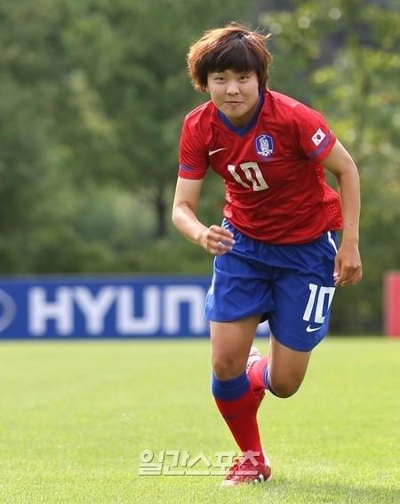 東アジアカップ2013女子の韓国代表チームのチ・ソヨン。