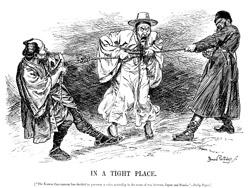 ロシアと日本の間に挟まれた大韓帝国の運命を風刺した挿絵。1905年、米国雑誌『Harper's Weekly』に掲載された。