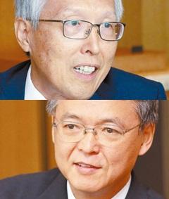 申ガク秀(シン・ガクス)元駐日大使(写真上)と添谷芳秀慶応大学教授。