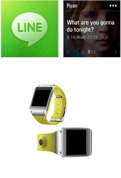 ネイバーモバイルメッセンジャー「LINE」、サムスン「ギャラクシーギア」(写真提供=ネイバー、サムスン)