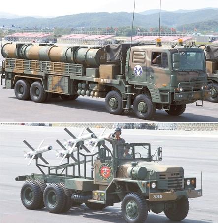 巡航ミサイル「玄武(ヒョンム)III」(上)とイスラエル製誘導ミサイル「スパイク」。
