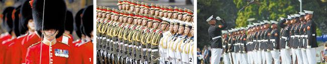 観光客に人気の英国の象徴「王室近衛隊」(写真1)、顔の表情まで徹底的に教育する中国人民解放軍の儀仗隊(写真2)、沈黙の中で動く米国海兵儀仗隊の「サイレントドリルチーム」(写真3)。