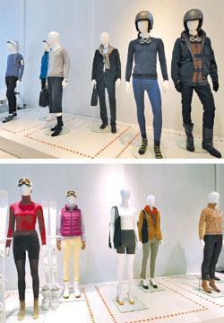 ユニクロの特殊素材「ヒートテック」、「ウルトラライトダウン」などで作った今年の秋冬用新商品。変化の激しい天気に合わせて何枚も重ね着しやすくデザインしたのが特徴だ。