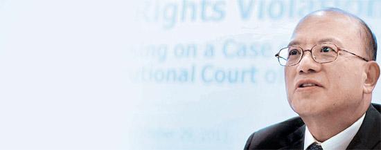 パク・ハンチョル憲法裁判所長が29日(米国時間)、米国ボストンのハーバード大学ロースクールで「女性人権侵害回復のための国家の義務」というテーマで講演している。(写真=憲法裁判所)