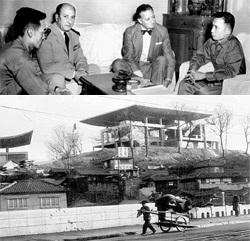 (上)1961年6月、朴正熙国家再建最高会議副議長(右)がシャンボール初代駐韓フランス大使(右から2人目)らフランス政府関係者と歓談している。59年から69年まで駐韓フランス大使を務めたシャンボール大使は遺言により陜川の海印寺に安置された。(写真=中央フォト)。(下)1961年完工当時の駐韓フランス大使館の建物。シャンボール初代フランス大使所蔵の写真。