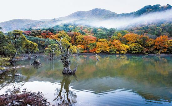 慶尚北道青松(キョンサンブクド・チョンソン)の周王山(ジュワンサン)にある注山池(ジュサンジ)。