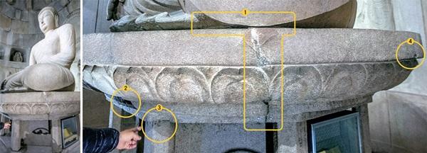 石窟庵の本尊の亀裂が深刻であることが分かった。本尊の台座に生じた亀裂<1>はかなり以前に補修されたが、その大きさが深刻で、台座自体も上下がずれている。台座の下の部分<2>は台座の一部が欠けた痕跡で、手で指している部分<3>では童子柱の上側に縦の亀裂があり、これと接する台座の一部も欠けている。右側の<4>には補修の痕跡がなく、最近生じたとみられる60センチ以上の亀裂がある。このほかにも本尊に25カ所の亀裂があると文化財庁が確認した。