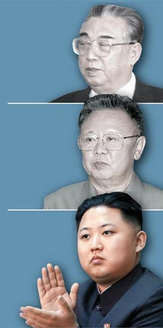 故金日成(キム・イルソン)主席、故金正日(キム・ジョンイル)総書記、金正恩(キム・ジョンウン)第1書記(写真上から)