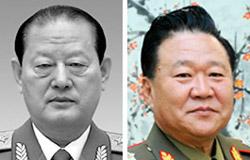 金元弘(キム・ウォンホン)保衛部長(左)、崔竜海(チェ・ヨンヘ)総政治局長(右)