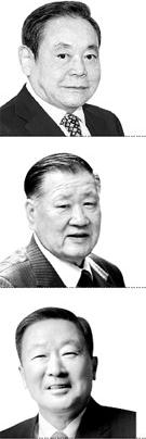 (上から)李健熙(イ・ゴンヒ)サムスン電子会長、鄭夢九(チョン・モング)現代車グループ会長、具本茂(ク・ボンム)LGグループ会長。