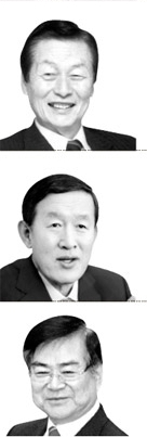 (上から)辛格浩(シン・ギョクホ)ロッテ総括会長、許昌秀(ホ・チャンス)GS会長、趙亮鎬(チョ・ヤンホ)韓進会長。