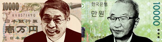 (左)黒田東彦日銀総裁「量的緩和2年超も」=1日のインタビューで、「円安、過度でない」=昨年11月の議会で。(右)玄オ錫経済副総理「為替レートに一喜一憂すべきでない」=3日の金融機関新年挨拶会で、「円安は予想通り」=2日の新年記者懇談会で。