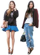 アミ・ソンさんが着れば赤色の革ジャケットや青のミニスカート、裂けたジーンズもよく似合う。馬子にも衣装ではなく、彼女の堂々とした様子が強みだった。(写真=アミ・ソンさんのブログ)