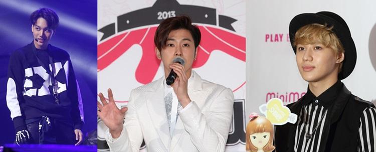 (左から)EXOのカイ、東方神起ユノ・ユンホ、SHINeeのテミン。