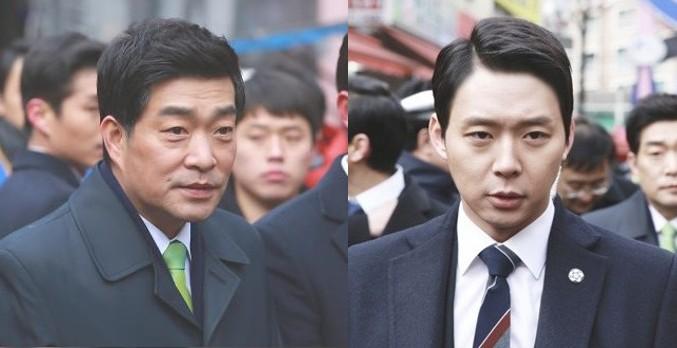 俳優ソン・ヒョンジュ(左)とパク・ユチョン