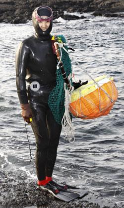 現代的な潜水装備を備えた済州の海女。特有の黒い潜水服と水かきを着用し、左手には作業中に水産物を保管するテワクと呼ばれる浮きを持っている。これらの装備は1970年を前後して普及した。(写真=中央フォト)