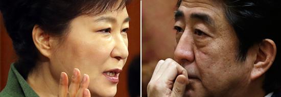 朴槿恵大統領(左)と安倍晋三首相。