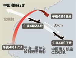北朝鮮の発射した放射砲と中国南方航空の飛行方向とその時刻