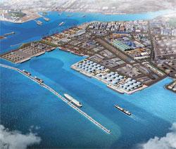 韓国政府が2020年まで推進する東北アジアのオイルハブ、蔚山(ウルサン)北港の鳥かん図。(写真=産業通商資源部)