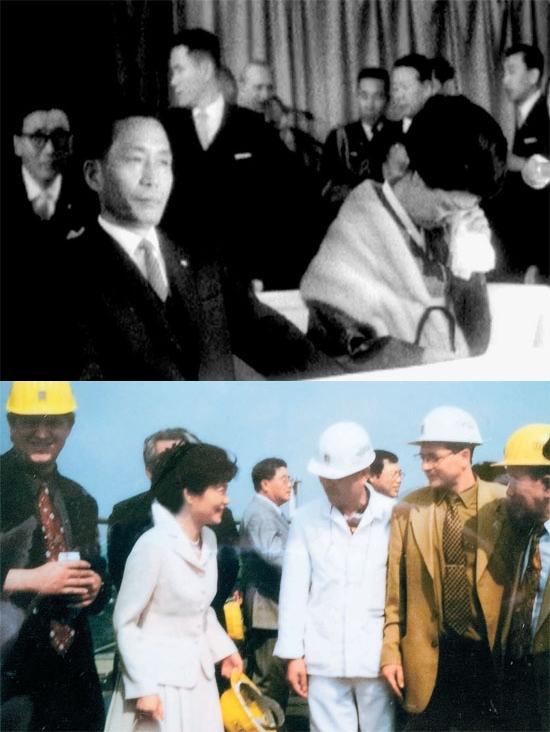 (上の写真)朴正熙(パク・チョンヒ)元大統領と夫人の陸英修(ユク・ヨンス)女史が1964年12月10日、西ドイツ(現ドイツ)訪問中にルール炭鉱地帯のハムボルン鉱山を訪れてドイツ派遣鉱夫や看護師500人余りを慰労した。陸女史は彼らを見て涙を流していた。(写真=青瓦台)/(下の写真)朴槿恵(パク・クネ)大統領が国会議員時期だった2006年9月にドイツを訪問して父・朴正熙(パク・チョンヒ)元大統領が1964年12月に立ち寄ったドイツのハムボルン鉱山を訪れた。(写真=クォン・イジョン教員大学名誉教授)