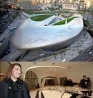 ソウル東大門デザインプラザ。(写真上)、ソウル東大門デザインプラザを設計したイラク出身の英国建築家ザハ・ハディッド氏(63)。21日オープンのDDPは、ザハ・ハディッド氏がデザインした家具、履き物、宝石など約40点を26日まで展示する。