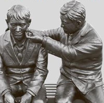 麻浦(マポ)大橋に設置されている自殺防止を呼びかける銅像。