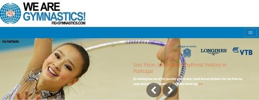 国際体操連盟(FIG)の公式ホームページのメインを飾ったソン・ヨンジェ(20、延世大)。(写真=国際体操連盟ホームページのキャプチャー)