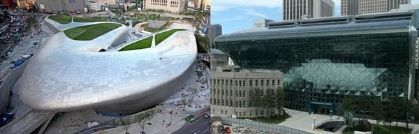 (写真左)東大門デザインプラザ(DDP)とソウル市庁の新庁舎。