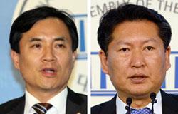 セヌリ党の金鎮台(キム・ジンテ)議員(左)、新政治連合の鄭清来(チョン・チョンレ)議員(右)