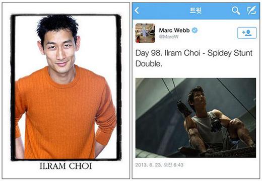 映画『アメイジング・スパイダーマン2』にアンドリュー・ガーフィールドのスタントマンとして参加している韓国人のチェ・イルラム。