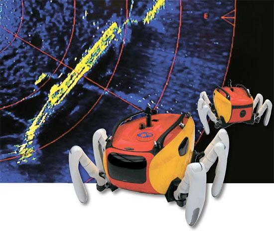 先月23日、クラブスター(右側)がスキャニングソナーで撮影したセウォル号の姿。