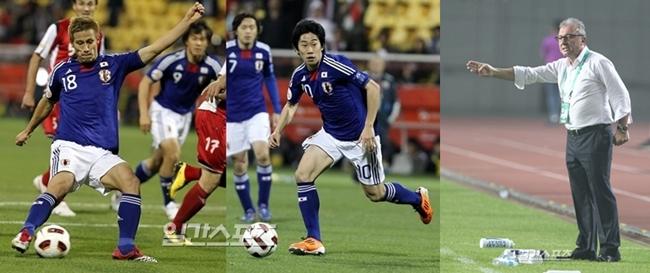 (左から)本田圭佑(28、ACミラン)、香川真司(25、マンチェスター・ユナイテッド)、アルベルト・ザッケローニ監督
