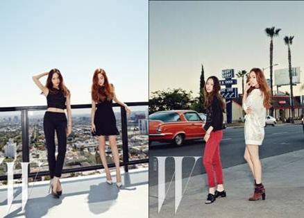 少女時代ジェシカとf(x)クリスタルのグラビア(写真提供=W KOREA)