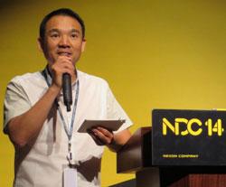 27日、京畿道板橋テクノバレーで開かれたネクソン開発者カンファレンスに出席した金正宙NXC代表。(写真=ネクソン)