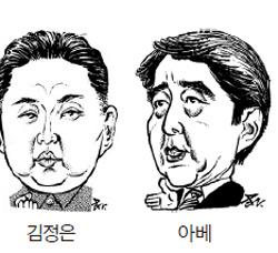 金正恩(キム・ジョンウン、左)と安倍首相