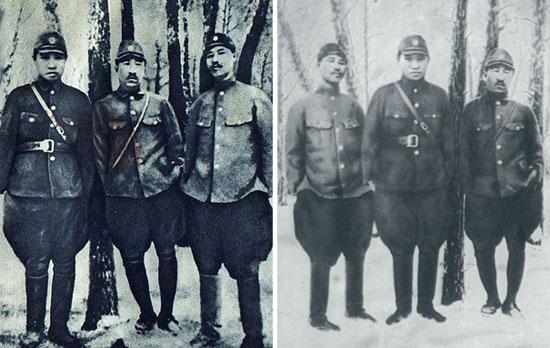 キャプション=北朝鮮が金日成の「抗日闘争」の証拠とした写真(右)。崔賢〔チェ・ヒョン、崔竜海(チェ・ヨンヘ)労働党秘書の父親〕が中央に位置する左の原本写真から右の安吉(アン・ギル)を左に移して金日成が中央に来るように操作した。(中央フォト)