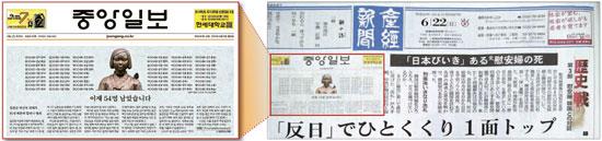 日本の極右の立場を代弁してきた産経新聞の22日付1面「『反日』でひとくくり、1面トップ」という見出しのトップ記事(右)。産経新聞は「ペ・チュンヒは生前日本に友好的だった」と主張し、ペさん死去のニュースを伝えた中央日報9日付1面トップ記事(左)は不公正な歪曲報道だと批判した。