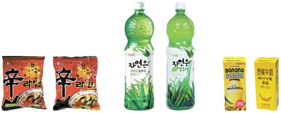 どちら側がコピー商品だろうか。正解は、いずれも左側が韓国のオリジナル商品で、右側が中国のコピー商品。