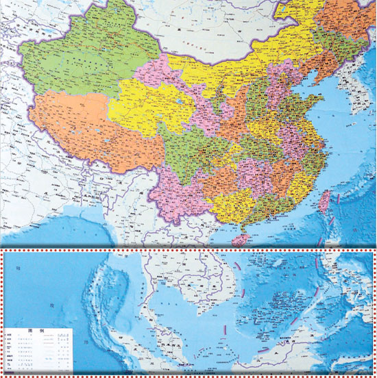 東・南シナ海の大部分を自国領土として表記した中国の新しい地図と従来の地図。新しい地図では紛争地域の尖閣諸島(中国名・釣魚島)などが新たに含まれ、点線表示の分ぐらい縦に長くなった。