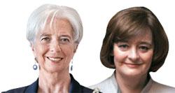 クリスティーヌ・ラガルド国際通貨基金(IMF)総裁(写真左)、シェリー・ブレア(トニー・ブレア元英国首相夫人)