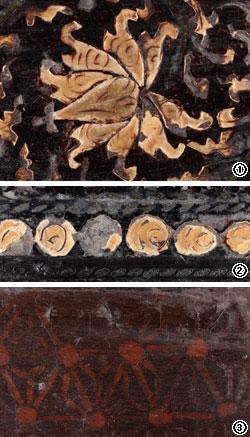 ①9つの葉を繊細に表現した牡丹唐草文の細部。②点や円を縫うように結びつけて作った連珠文を拡大した様子。③3つの葉を表わした麻葉文。