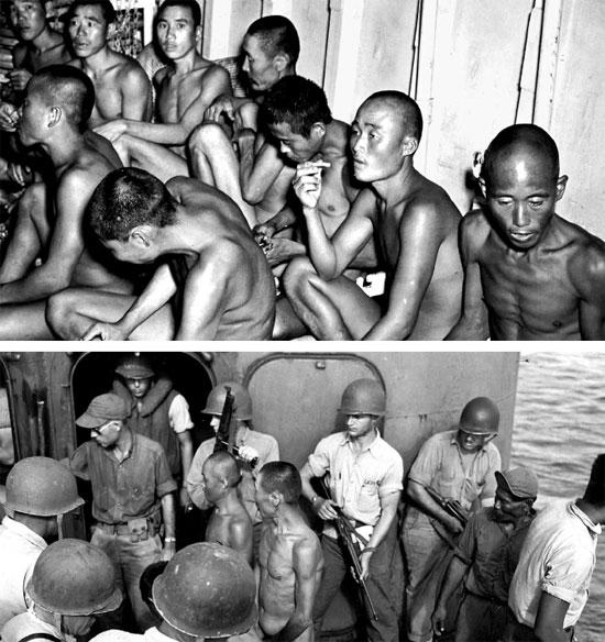 太平洋戦争当時、南太平洋で米軍に救助された韓国人強制徴用者[写真=国史編纂委員会]