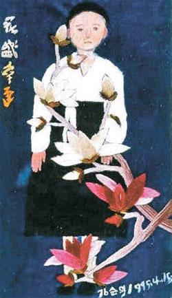キム・スンドクさんの描いた絵画『咲くことのなかった花』