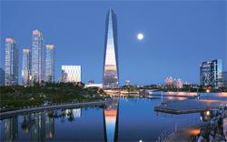 松島(ソンド)セントラルパークから眺めた68階建てビルの北東アジア貿易センター。