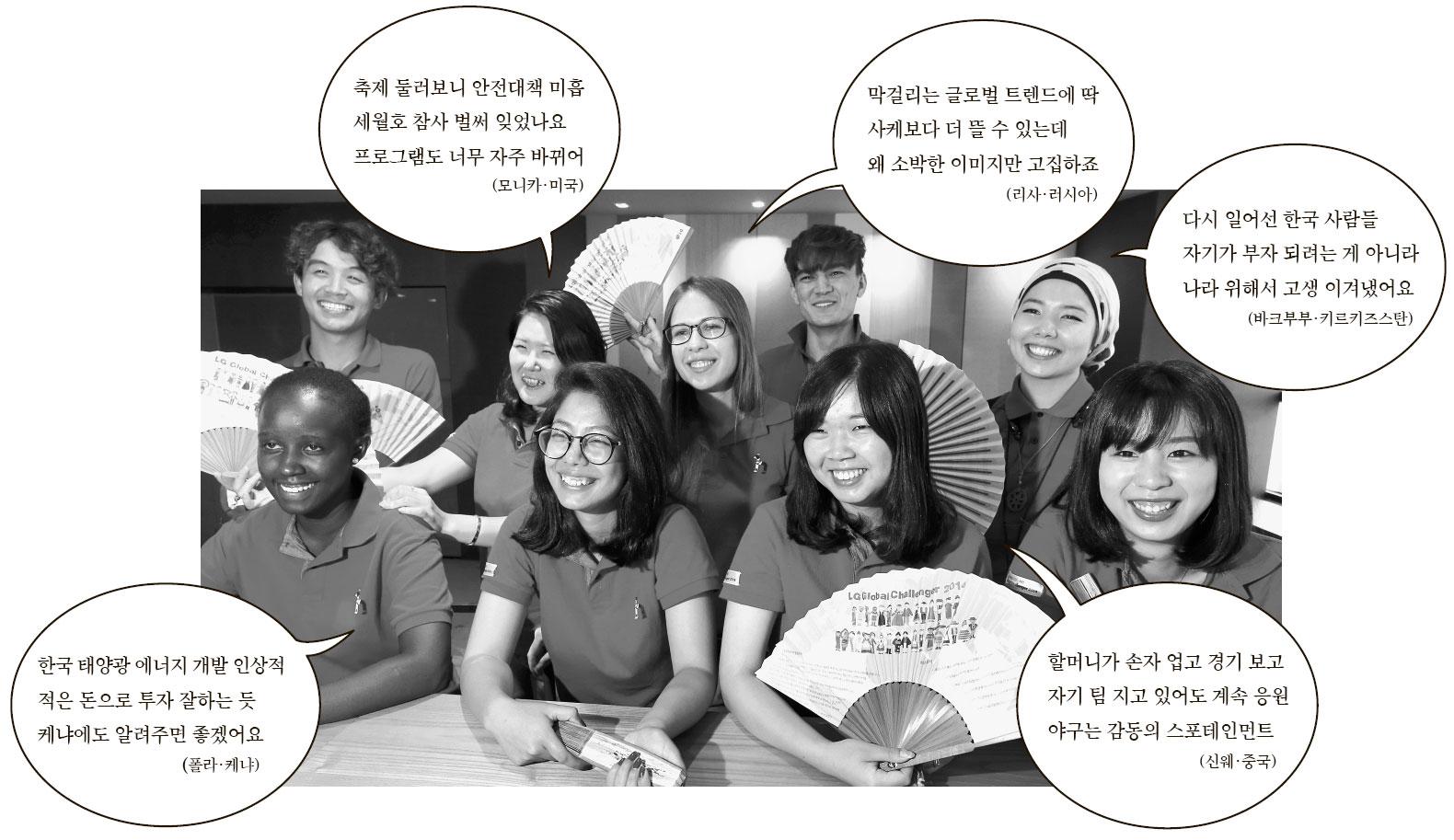 「LGグローバルチャレンジャー2014」プロジェクトに参加し、韓国の産業現場を探訪してきた外国人大学生が22日、ソウル麻浦のあるカフェに集まった。後列左から時計回りにジェニスベクさん(カザフスタン)、モニカさん(米国)、リサさん(ロシア)、アクバルさん(ウズベキスタン)、バクブブさん(キルギス)、アミカさん(日本)、シンウェさん(中国)、エラさん(ネパール)、ポーラさん(ケニア)。
