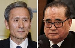 金寛鎮(キム・グァンジン)青瓦台国家安保室長(左)、李洙ヨン(リ・スヨン)北朝鮮外相(右)