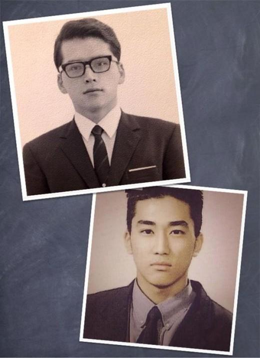 俳優ソン・スンホン(下)と彼の父親(上)。(写真=ソン・スンホンのツイッター)